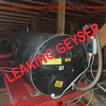Apex Industrial leaking geyser replaced or repaired any time of the day or night by qualified plumbers in the Brakpan area.
